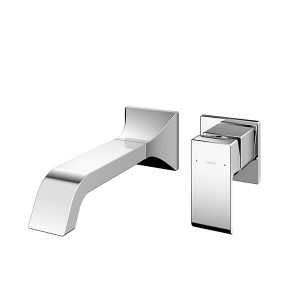 Wall Mounted Washbasin Faucet Long Spout w/o Pop-up Waste