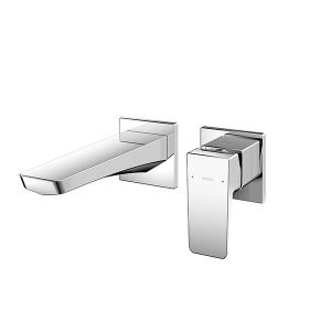 Wall Mounted Single Lever Washbasin Faucet Short Spout w/o Pop-up Waste