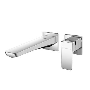 Wall Mounted Single Lever Washbasin Faucet Long Spout w/o Pop-up Waste